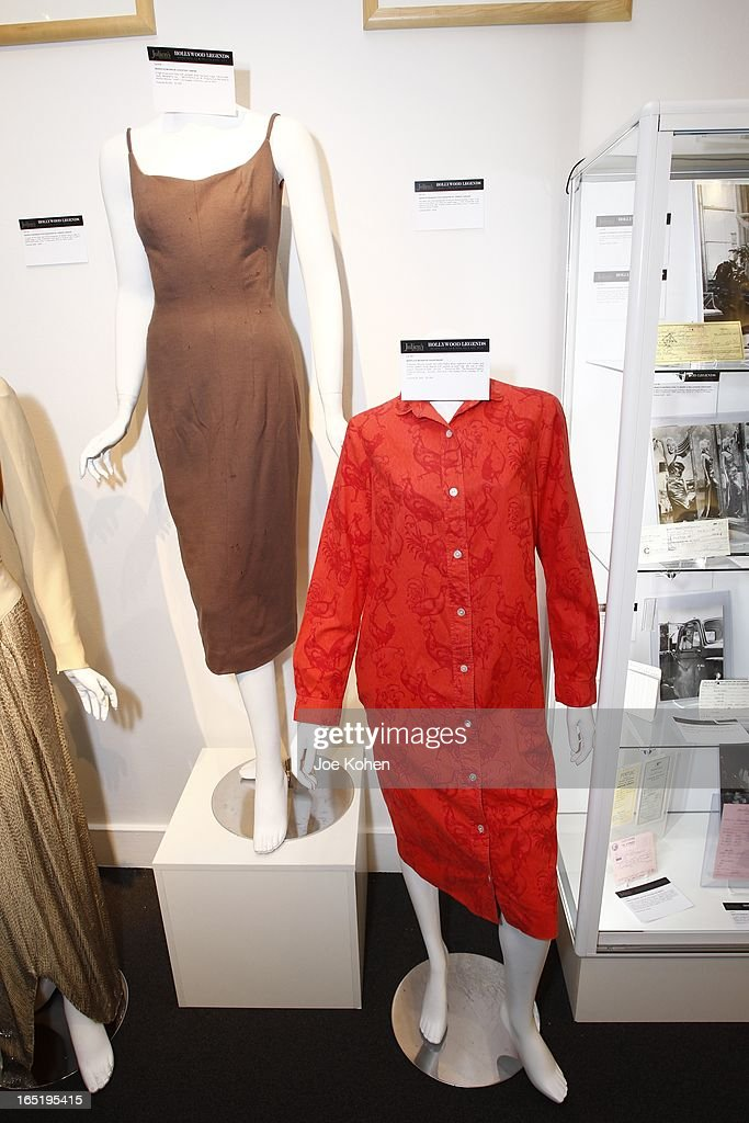 Marilyn Monroe dresses seen on display at Julien's Auctions Gallery on April 1, 2013 in Beverly Hills, California.