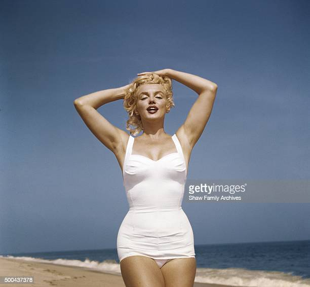 Marilyn Monroe on the beach in 1957 in Amagansett New York