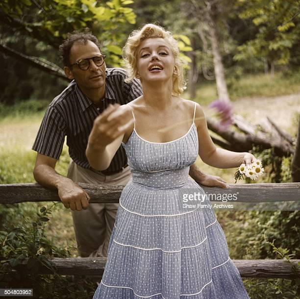 Marilyn Monroe with her husband playwright Arthur Miller at their home in 1957 in Amagansett New York