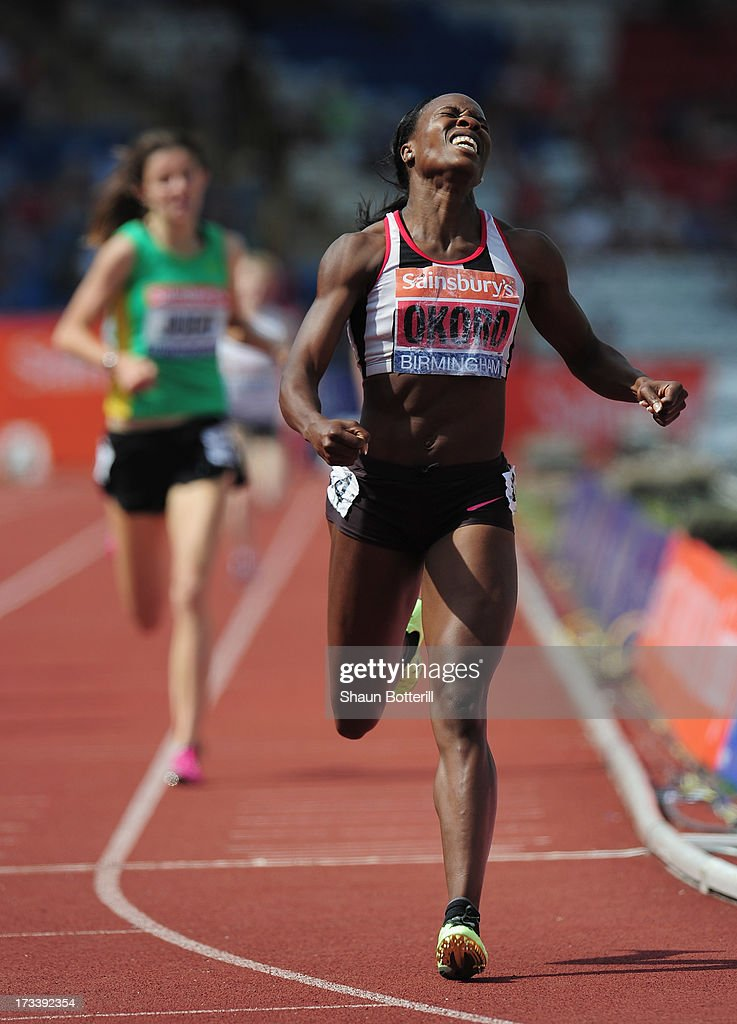 <a gi-track='captionPersonalityLinkClicked' href=/galleries/search?phrase=Marilyn+Okoro&family=editorial&specificpeople=1424086 ng-click='$event.stopPropagation()'>Marilyn Okoro</a> of Shaftesbury B wins the Women's 800m Final during the Sainsbury's British Athletics World Trials and UK & England Championships at Birmingham Alexander Palace on July 13, 2013 in Birmingham, England.