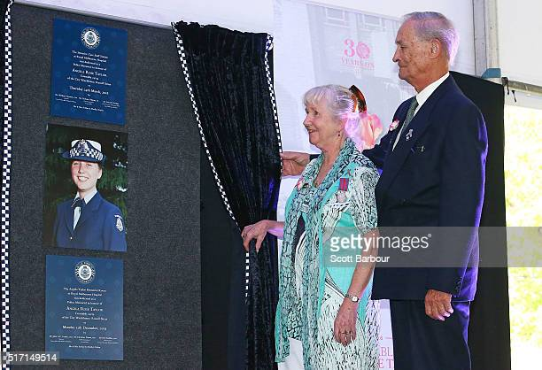Marilyn Taylor and Arthur Taylor parents of Angela Taylor unveil a Police Memorial in honour of their daughter during a memorial service to honour...