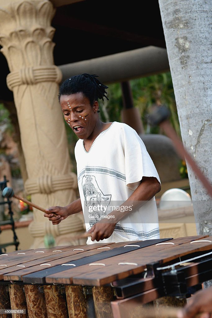 A Marimba Band member performs during the official welcome function ahead of the Gary Player Invitational presented by Coca-Cola, at The Palace Hotel on November 14, 2013 in Sun City, South Africa.