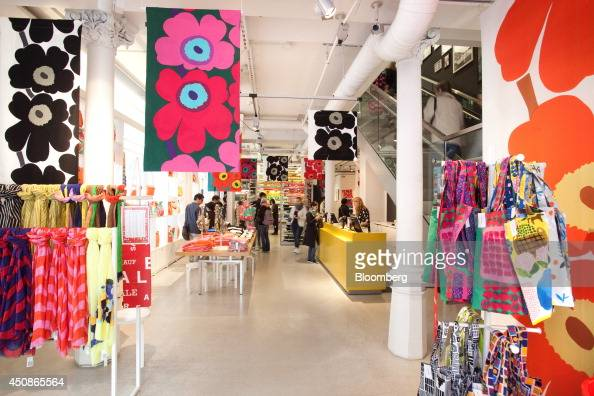 Marimekko products and design fabrics sit for sale in the flagship Marimekko Oyj retail store in Helsinki Finland on Thursday June 19 2014 Marimekko...