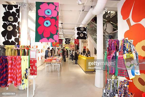 Marimekko products and design fabrics sit for sale in the flagship Marimekko Oyj retail store in Helsinki Finland on Thursday June 19 2014 Marimekko...