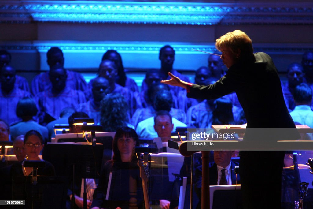 Marin Alsop leading the Baltimore Symphony Orchestra in Leonard Bernstein's 'Mass' at Carnegie Hall on Friday night, October 24, 2008.The orchestra was joined by Street Chorus, Morgan State University Choir, Brooklyn Youth Chorus and Stony Brook University Marching Band.This image;Marin Alsop conducting.