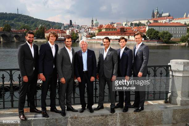 Marin Cilic Alexander Zverev Roger Federer Bjorn Bjorg Rafael Nadal Dominic Thiem and Thomas Berdych pose for photos ahead of the Laver Cup on...