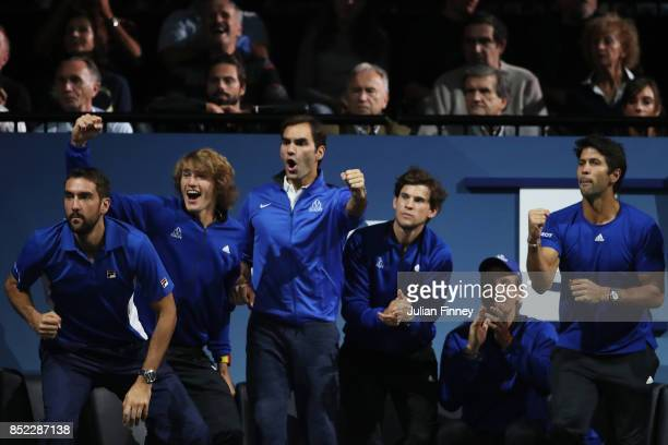 Marin Cilic Alexander Zverev Roger Federer Dominic Thiem and Tomas Berdych and Fernando Verdasco of Team Europe support Rafael Nadal of Team Europe...