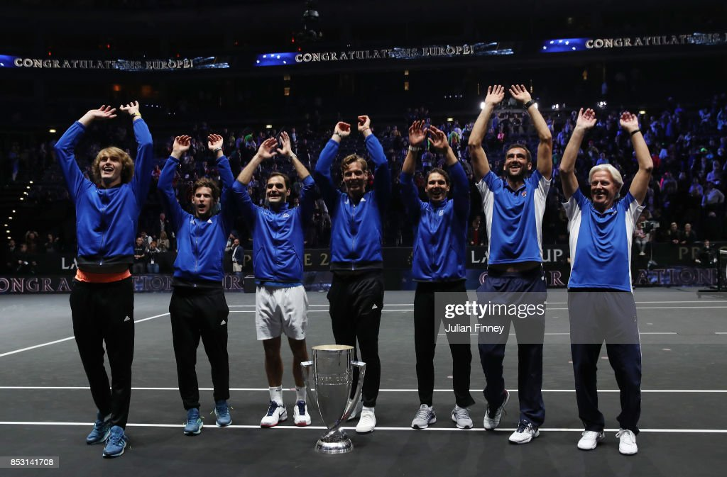 Marin Cilic, Bjorn Borg, Rafael Nadal, Alexander Zverev, Dominic Thiem, Bjorn Borg, Roger Federer and Tomas Berdych of Team Europe celebrate winning the Laver Cup trophy on the final day of the Laver cup on September 24, 2017 in Prague, Czech Republic. The Laver Cup consists of six European players competing against their counterparts from the rest of the World. Europe will be captained by Bjorn Borg and John McEnroe will captain the Rest of the World team. The event runs from 22-24 September.
