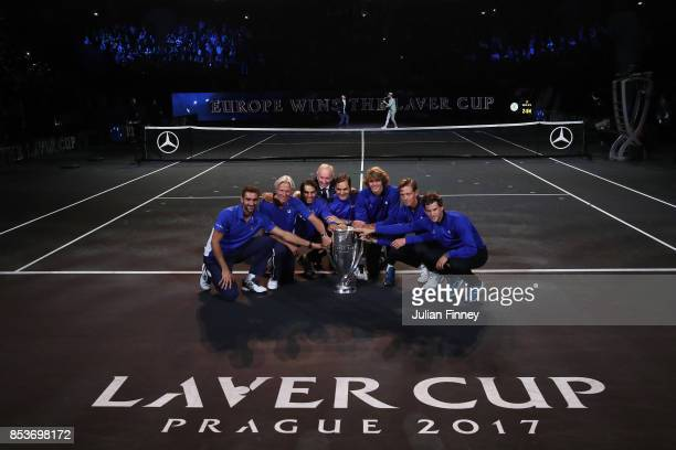 Marin Cilic Bjorn Borg Rafael Nadal Rod Laver Roger Federer Alexander Zverev Tomas Berdych and Dominic Thiem of Team Europe celebrate after winning...