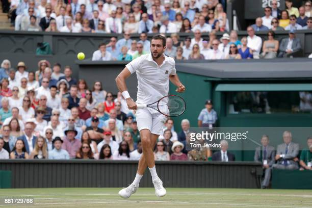 Marin Cilic makes a mess of a volley in his defeat to Roger Federer in the men's singles final on Centre Court on day thirteen of the 2017 Wimbledon...