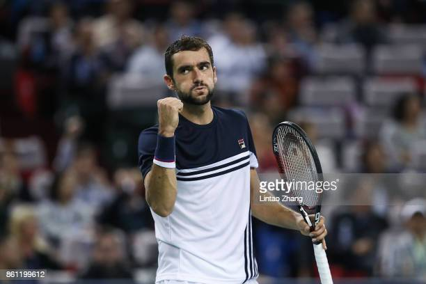 Marin Cilic of Coratia celebrates a point during the Men's singles Semifinal mach against Rafael Nadal of Spain on day seven of 2017 ATP Shanghai...
