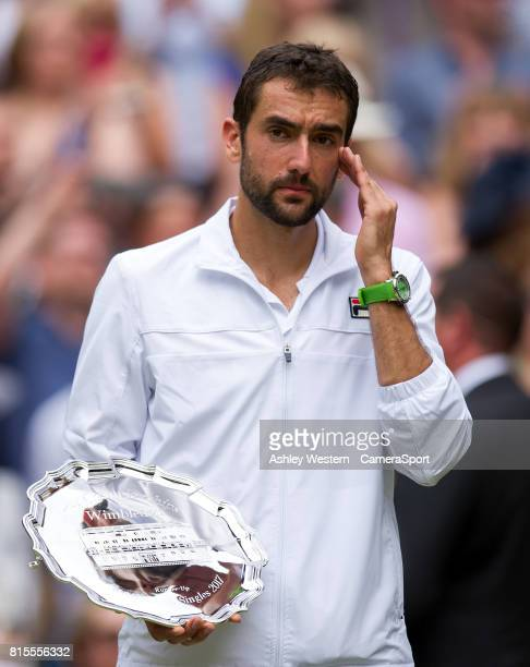 Marin Cilic of Croatia after his defeat to Roger Federer of Switzerland in their Gentlemen's Singles Final at Wimbledon on July 16 2017 in London...
