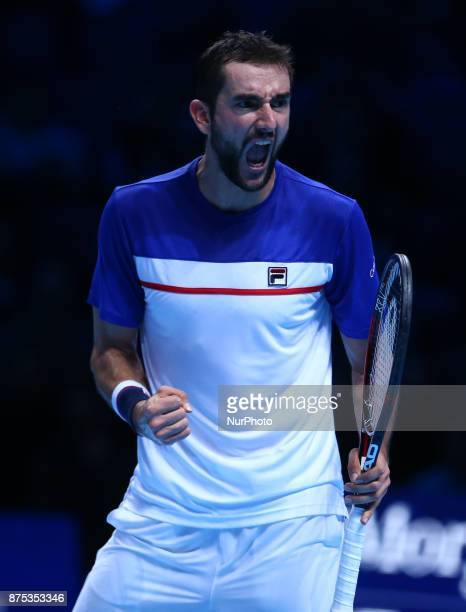 Marin Cilic of Croatia against Alexander Zverev of Germany during Day One of the Nitto ATP World Tour Finals World Tour Finals 2017 played at The O2...