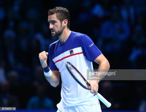 Marin Cilic of Croatia against Roger Federer of Switzerland during Day five of the Nitto ATP World Tour Finals played at The O2 Arena London on...