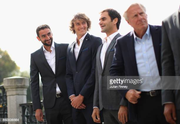 Marin Cilic of Croatia Alexander Zverev of Germany Roger Federer of Switzerland and Bjorn Borg of Sweden looks on during a photoshoot ahead of the...