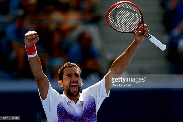Marin Cilic of Croatia celebrates after defeating Jeremy Chardy of France in their Men's Singles Fourth Round match on Day Seven of the 2015 US Open...