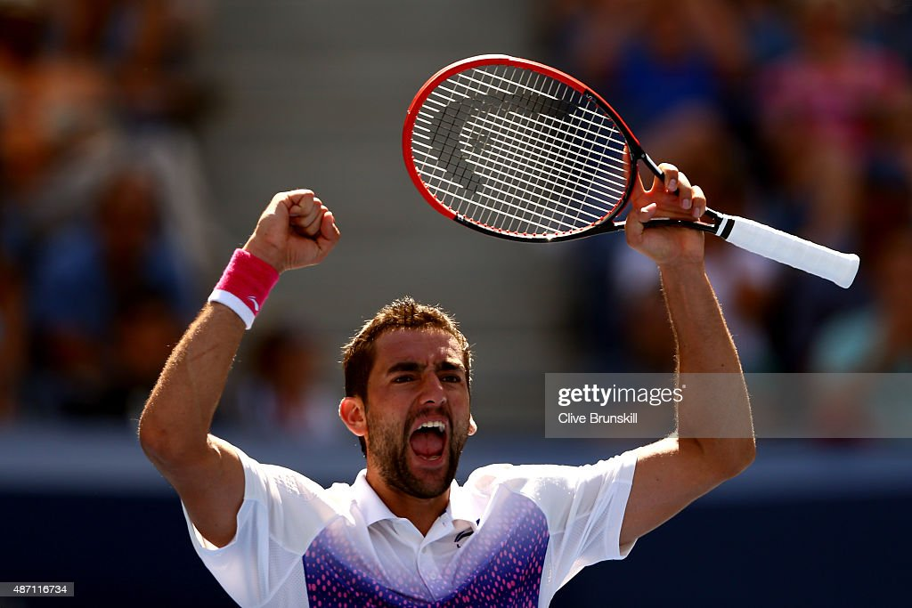 <a gi-track='captionPersonalityLinkClicked' href=/galleries/search?phrase=Marin+Cilic&family=editorial&specificpeople=553788 ng-click='$event.stopPropagation()'>Marin Cilic</a> of Croatia celebrates after defeating Jeremy Chardy of France in their Men's Singles Fourth Round match on Day Seven of the 2015 US Open at the USTA Billie Jean King National Tennis Center on September 6, 2015 in the Flushing neighborhood of the Queens borough of New York City.