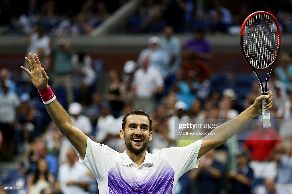 <a gi-track='captionPersonalityLinkClicked' href=/galleries/search?phrase=Marin+Cilic&family=editorial&specificpeople=553788 ng-click='$event.stopPropagation()'>Marin Cilic</a> of Croatia celebrates after defeating Jo-Wilfried Tsonga of France during their Men's Singles Quarterfinals match on Day Nine of the 2015 US Open at the USTA Billie Jean King National Tennis Center on September 8, 2015 in the Flushing neighborhood of the Queens borough of New York City.