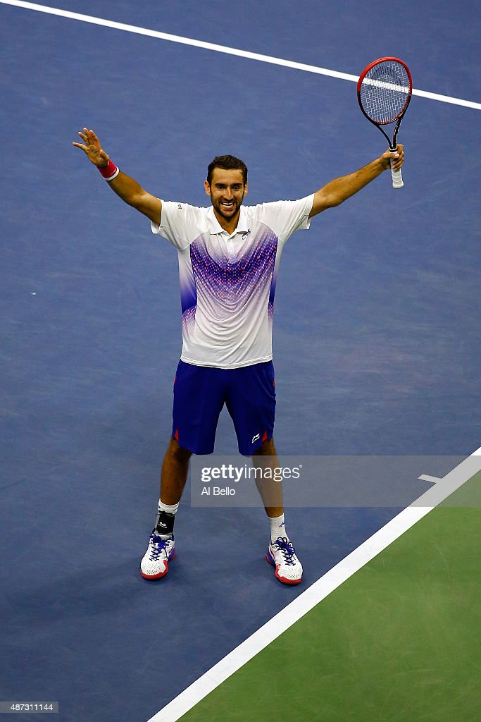 Marin Cilic of Croatia celebrates after defeating Jo-Wilfried Tsonga of France during their Men's Singles Quarterfinals match on Day Nine of the 2015 US Open at the USTA Billie Jean King National Tennis Center on September 8, 2015 in the Flushing neighborhood of the Queens borough of New York City.