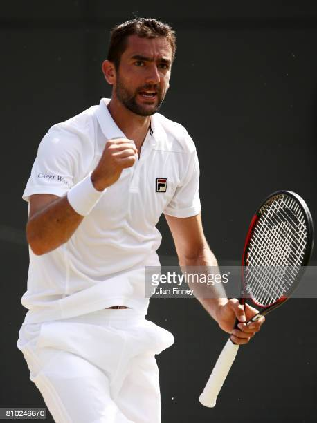 Marin Cilic of Croatia celebrates during the Gentlemen's Singles third round match against Steve Johnson of The United States on day five of the...