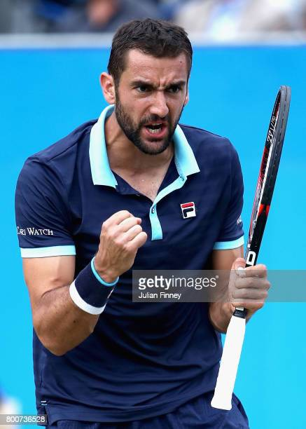 Marin Cilic of Croatia celebrates during the mens singles final against Feliciano Lopez of Spain during day seven of the 2017 Aegon Championships at...