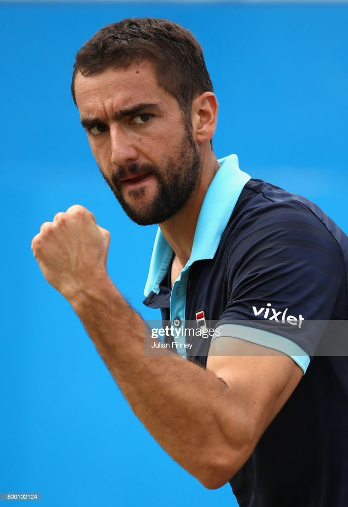 Marin Cilic of Croatia celebrates during the mens singles Quarter final match against Donald Young of The United States on day five of the 2017 Aegon Championships at Queens Club on June 23, 2017 in London, England.