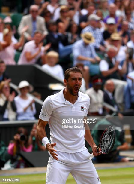Marin Cilic of Croatia celebrates match point and victory after the Gentlemen's Singles semi final match against Sam Querrey of The United States on...