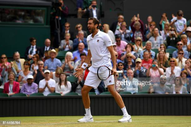 Marin Cilic of Croatia celebrates match point and victory during the Gentlemen's Singles semi final match against Sam Querrey of The United States on...