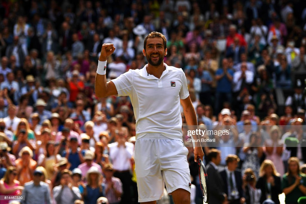 Marin Cilic of Croatia celebrates victory after the Gentlemen's Singles semi final match against Sam Querrey of The United States on day eleven of the Wimbledon Lawn Tennis Championships at the All England Lawn Tennis and Croquet Club at Wimbledon at Wimbledon on July 14, 2017 in London, England.