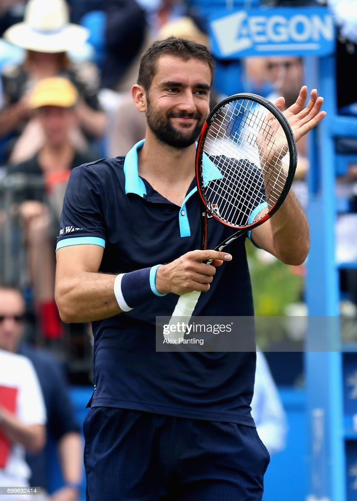 Marin Cilic of Croatia celebrates victory during the mens singles second round match against Stefan Kozlov of The United States on day four of the 2017 Aegon Championships at Queens Club on June 22, 2017 in London, England.