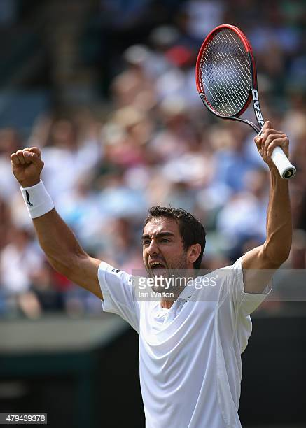 Marin Cilic of Croatia celebrates winning his Gentlemen's Singles Third Round match against John Isner of the United States during day five of the...