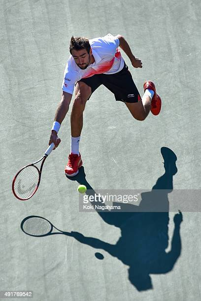 Marin Cilic of Croatia competes against Steve Johnson of USA during the men's singles first round match on day four of Rakuten Open 2015 at Ariake...