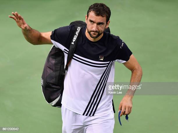 Marin Cilic of Croatia leaves the court after defeated by Rafael Nadal of Spain on Day 7 of 2017 ATP 1000 Shanghai Rolex Masters during Men's Single...