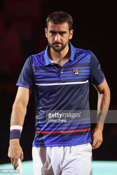 Marin Cilic of Croatia looks on during the Men's singles mach against Kyle Edmund of Great Britain on day three of 2017 ATP Shanghai Rolex Masters at...