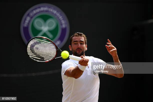 Marin Cilic of Croatia plays a forehand during the Gentlemen's Singles third round match against Steve Johnson of The United States on day five of...