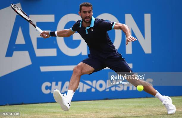 Marin Cilic of Croatia plays a forehand during the mens singles Quarter final match against Donald Young of The United States on day five of the 2017...