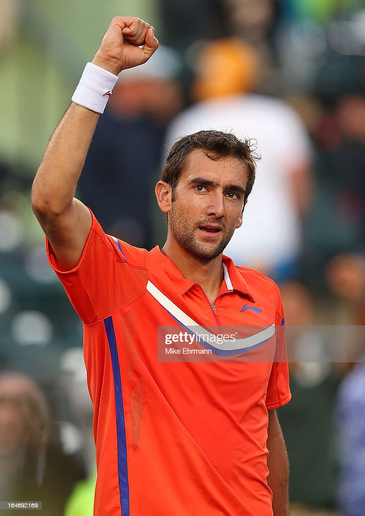 Marin Cilic of Croatia plays a match against Jo-Wilfred Tsonga of France during Day 9 of the Sony Open at Crandon Park Tennis Center on March 26, 2013 in Key Biscayne, Florida.