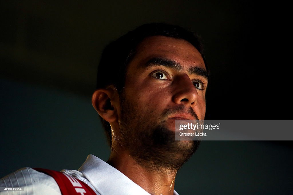 <a gi-track='captionPersonalityLinkClicked' href=/galleries/search?phrase=Marin+Cilic&family=editorial&specificpeople=553788 ng-click='$event.stopPropagation()'>Marin Cilic</a> of Croatia prepares to play against Guido Pella of Argentina on Day One of the 2015 US Open at the USTA Billie Jean King National Tennis Center on August 31, 2015 in the Flushing neighborhood of the Queens borough of New York City.