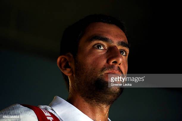 Marin Cilic of Croatia prepares to play against Guido Pella of Argentina on Day One of the 2015 US Open at the USTA Billie Jean King National Tennis...