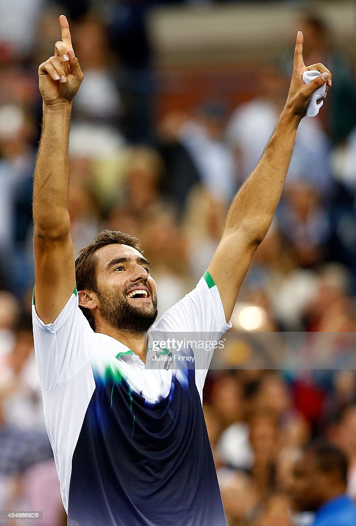 <a gi-track='captionPersonalityLinkClicked' href=/galleries/search?phrase=Marin+Cilic&family=editorial&specificpeople=553788 ng-click='$event.stopPropagation()'>Marin Cilic</a> of Croatia reacts after defeating Kei Nishikori of Japan to win the men's singles final match on Day fifteen of the 2014 US Open at the USTA Billie Jean King National Tennis Center on September 8, 2014 in the Flushing neighborhood of the Queens borough of New York City. Cilic defeated Nishikori by a score of 6-3, 6-3, 6-3.