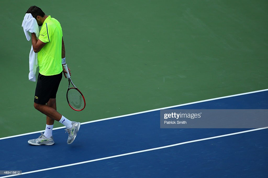 Marin Cilic of Croatia reacts during a match against Kei Nishikori of Japan during the Citi Open at Rock Creek Park Tennis Center on August 8, 2015 in Washington, DC.