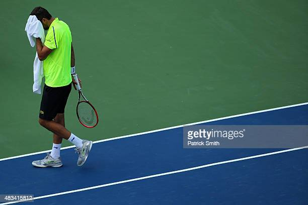 Marin Cilic of Croatia reacts during a match against Kei Nishikori of Japan during the Citi Open at Rock Creek Park Tennis Center on August 8 2015 in...