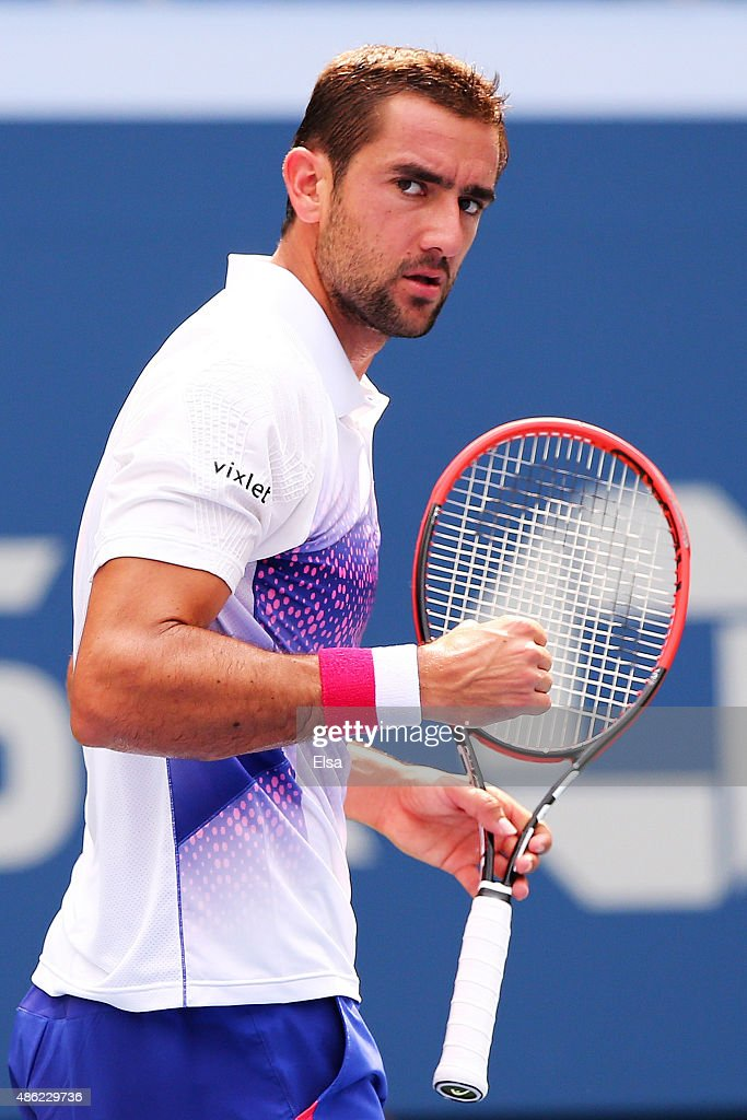 <a gi-track='captionPersonalityLinkClicked' href=/galleries/search?phrase=Marin+Cilic&family=editorial&specificpeople=553788 ng-click='$event.stopPropagation()'>Marin Cilic</a> of Croatia reacts during his Men's Singles Second Round match against Evgeny Donskoy of Russia on Day Three of the 2015 US Open at the USTA Billie Jean King National Tennis Center on September 2, 2015 in the Flushing neighborhood of the Queens borough of New York City.