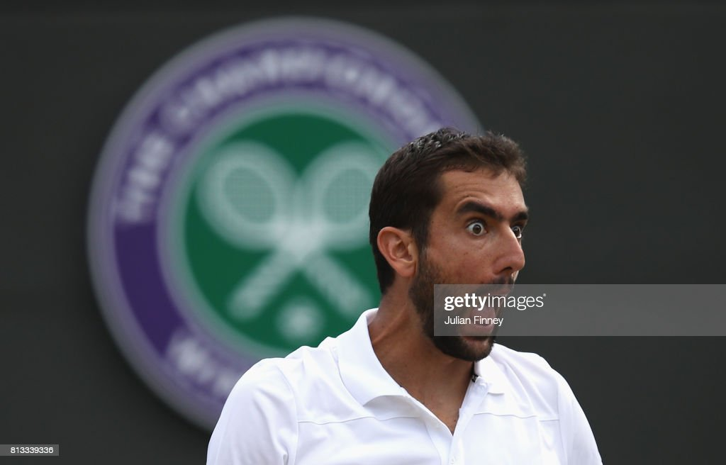 Marin Cilic of Croatia reacts during the Gentlemen's Singles quarter final match against Gilles Muller of Luxembourg on day nine of the Wimbledon Lawn Tennis Championships at the All England Lawn Tennis and Croquet Club on July 12, 2017 in London, England.