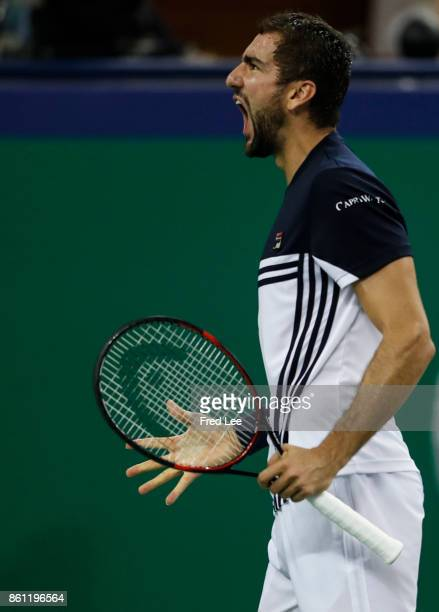 Marin Cilic of Croatia reacts during the Men's singles semifinal match Rafael Nadal of Spain on day 7 of 2017 ATP Shanghai Rolex Masters at Qizhong...