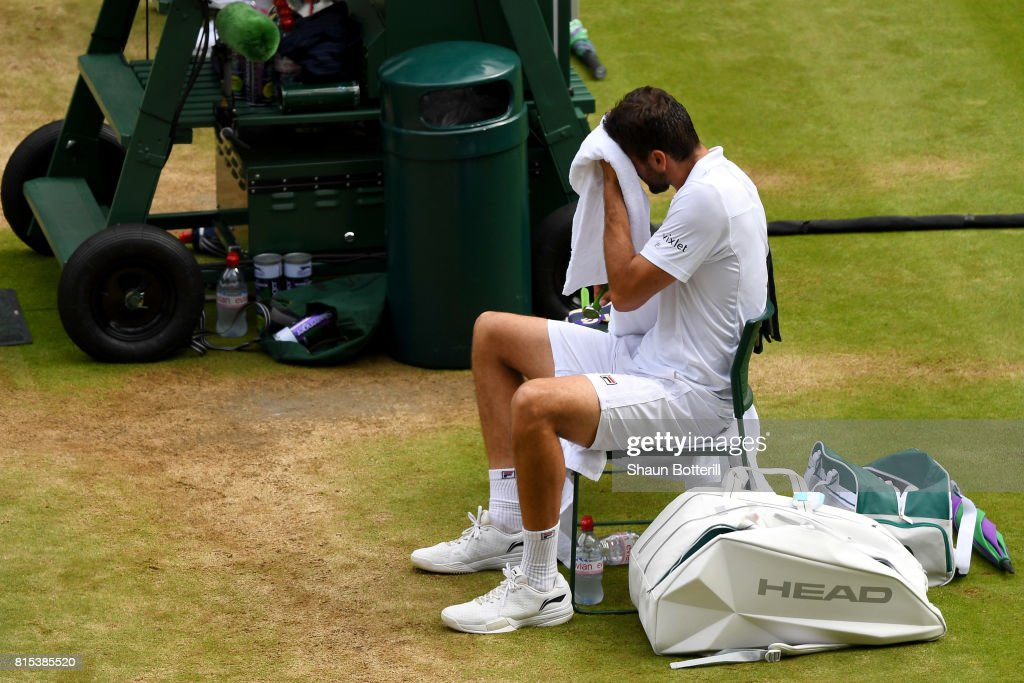 Marin Cilic of Croatia reacts in defeat after the Gentlemen's Singles final against Roger Federer of Switzerland on day thirteen of the Wimbledon Lawn Tennis Championships at the All England Lawn Tennis and Croquet Club at Wimbledon on July 16, 2017 in London, England.