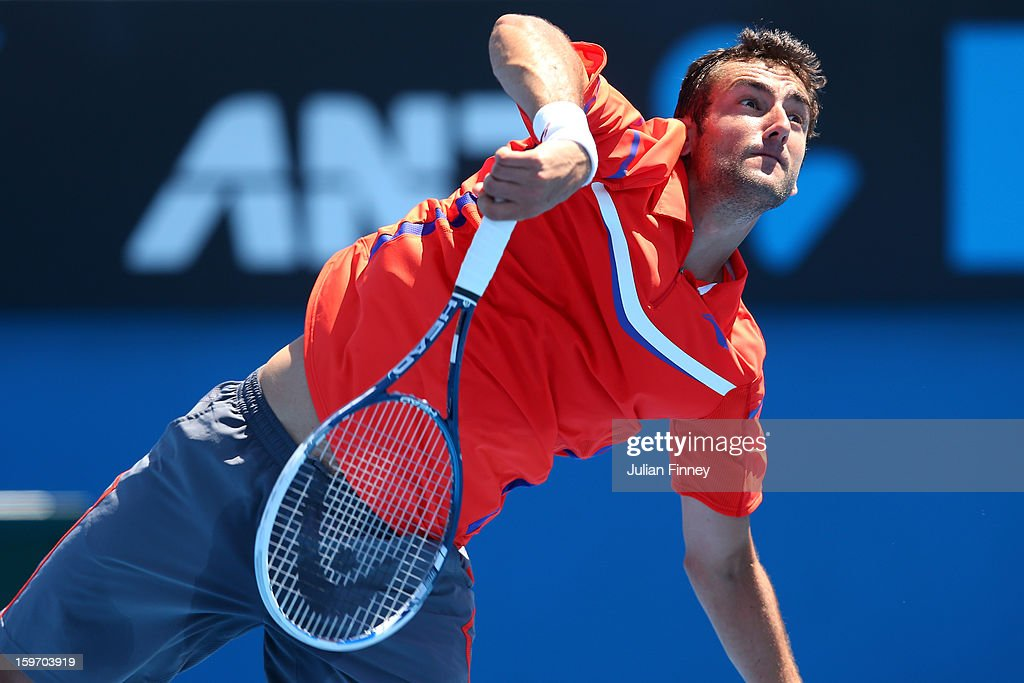 Marin Cilic of Croatia serves in her third round match against Andreas Seppi of Italy during day six of the 2013 Australian Open at Melbourne Park on January 19, 2013 in Melbourne, Australia.