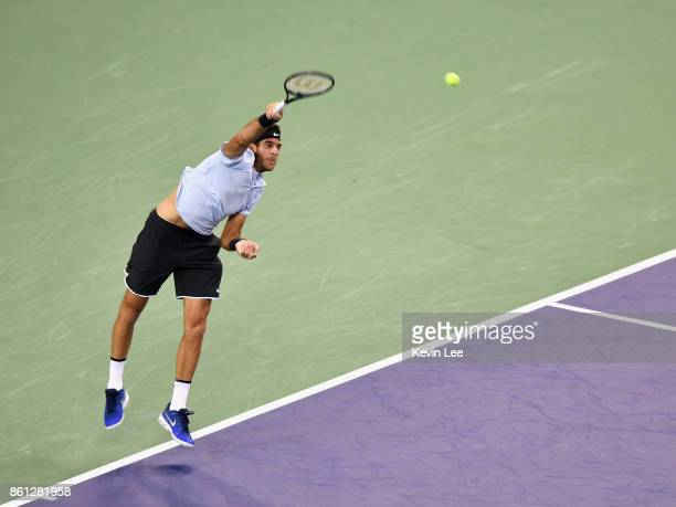 Marin Cilic of Croatia serves to Roger Federer of Switzerland on Day 7 of 2017 ATP 1000 Shanghai Rolex Masters during Men's Single SemiFinal on...