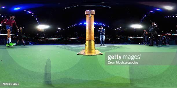 Marin Cilic of Croatia walks out to play against Gilles Muller of Luxembourg during day 3 of the ABN AMRO World Tennis Tournament held at Ahoy...