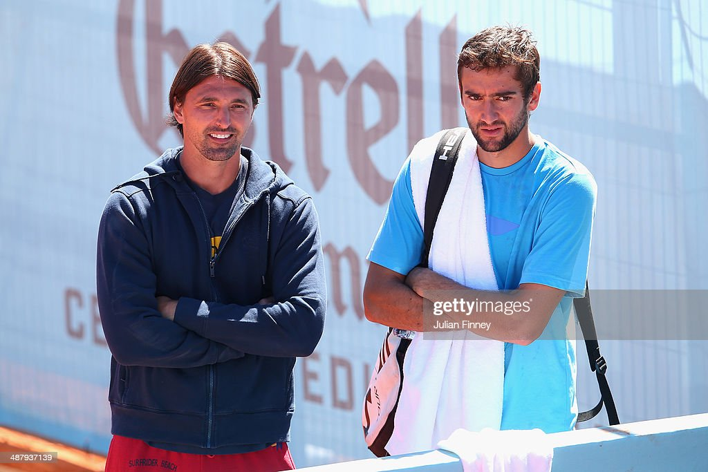Marin Cilic of Croatia with coach Goran Ivanisevic during day one of the Mutua Madrid Open tennis tournament at the Caja Magica on May 3 2014 in...